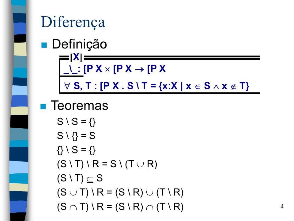 Diferença Definição Teoremas [X] _\_: [P X  [P X  [P X
